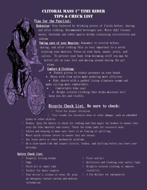 Check list created by Ovarian Psychos for first time participants