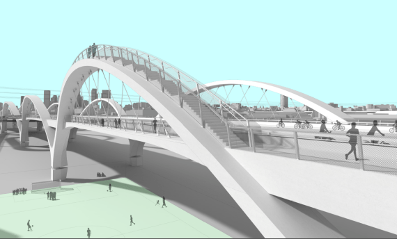 Rendering of one of the ascend-able arches and the soccer field Councilmember Huizar is pushing for below. Source: 6th St. Viaduct Replacement.