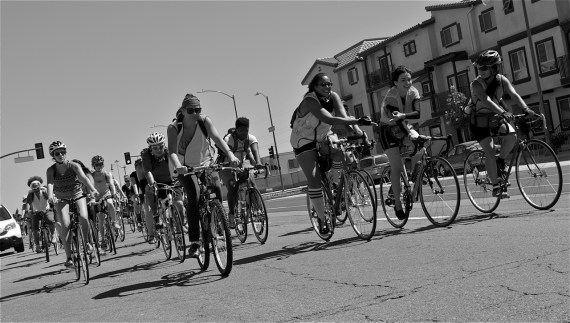 At right, Pauletta Pierce and Maryann Aguirre, organizers of and ride marshals for the event, lead women up San Fernando Rd. in Lincoln Heights. Sahra Sulaiman/Streetsblog LA