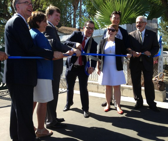 Today's ribbon-cutting for the newest segment of Los Angeles river bike path, located in