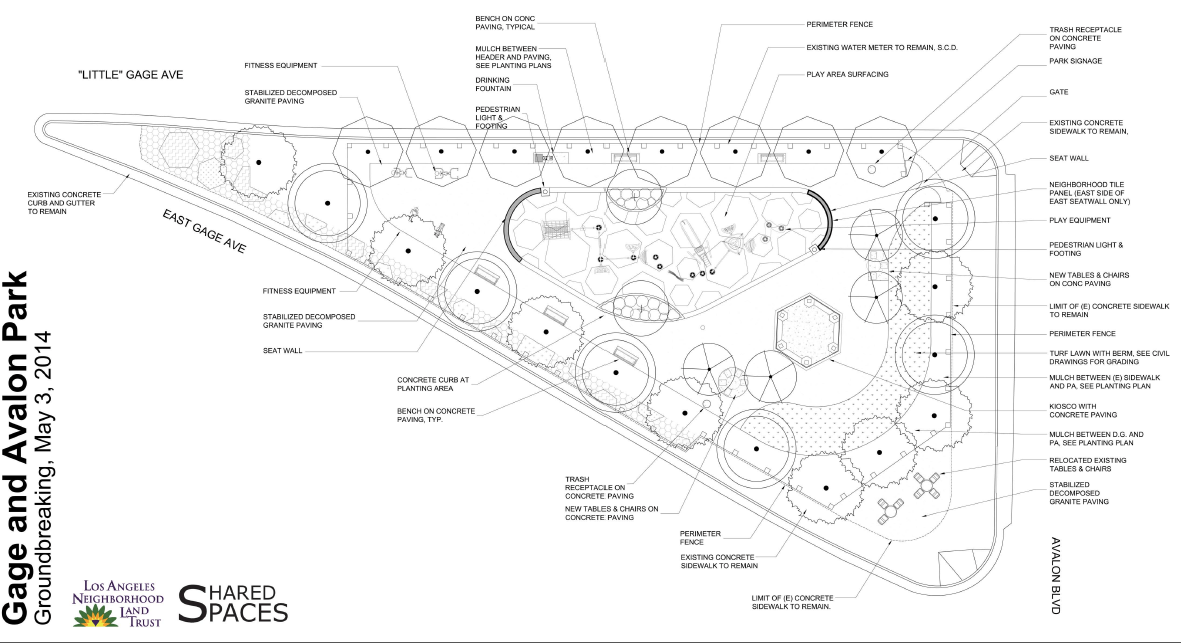 The plans for the new parklet at Avalon and Gage. Courtesy of the Neighborhood Land Trust.