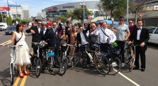 Tom Smuts and entourage in front of L.A. Live. Security, for some reason, wouldn't let SBLA bicycle on to the actual Emmy Awards red carpet. We're not sure why.