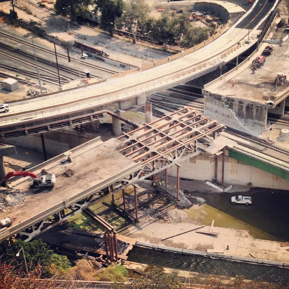Demolition work revealing the frame of the Riverside-Figueroa Bridge. Photo: Daveed Kapoor