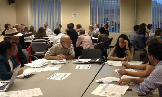 Workshop attendees discuss what makes a project eligible for cap-and-trade funds. Photo: Melanie Curry/Streetsblog