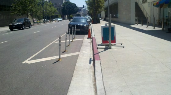 """LAPD """"protects"""" the entrance to the parking garage. Photo: Roger Rudick"""
