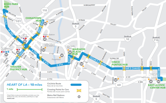 Heart of Los Angeles CicLAvia route for Sunday October 5. Image: CicLAvia