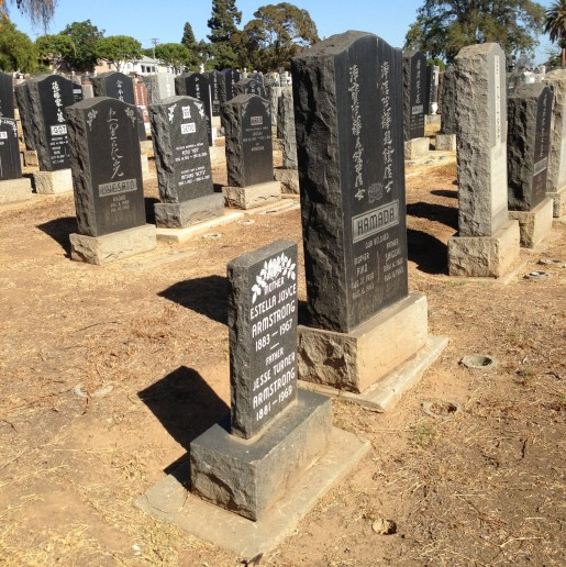Tombstones at Evergreen Cemetery in Boyle Heights