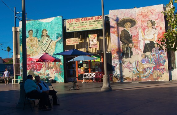The J&F Ice Cream Shop at Mariachi Plaza. The inside also has a lovely mural depicting some of their family members. Sahra Sulaiman/Streetsblog L.A.