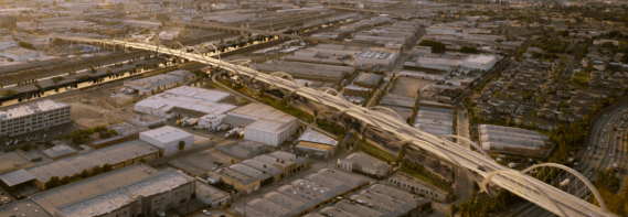 The span of the viaduct crosses mostly over industrial spaces. There is a set of housing developments on the east side of the flats, just to the north of the bridge. (Source: Michael Maltzan Architecture)