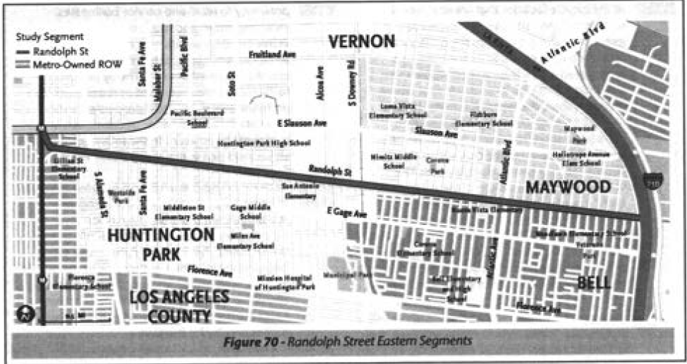 The Randolph St. option for the Eastern Segment would connect users with the river and Huntington Park and make use of a path already used for jogging/walking. (Feasibility Study)