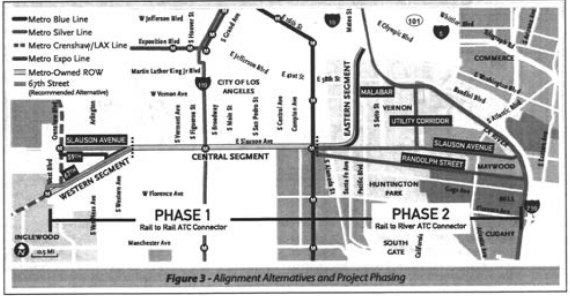 Screenshot of proposed bikeway corridor. Phase 1 (at left) represents section that Metro could move on immediately. Phase 2 would proceed more slowly, as Metro would need to negotiate with BNSF to purchase the ROW.