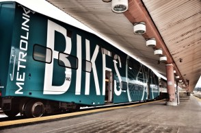 Metrolink has these great trains to carry lots of bikes... But don't look for them this Sunday. Image via The Source
