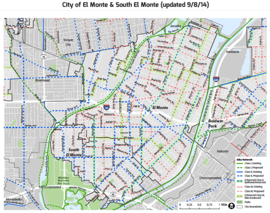 El Monte and South El Monte bike plans. Click for larger images. Image from SGV Bike Master Plan