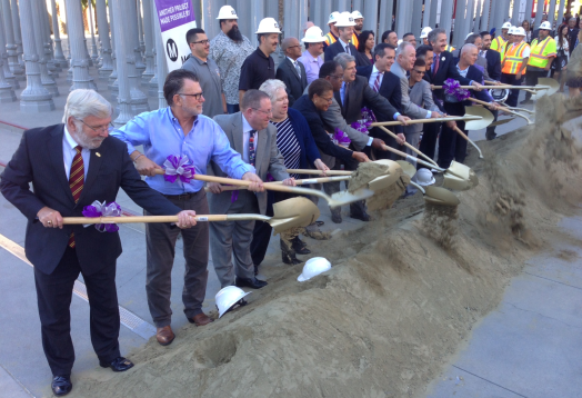 Assembled dignitaries break ceremonial ground on the 4-mile Purple Line subway extension this morning at the L.A. County Museum of Art. Photo: Joe Linton/Streetsblog L.A.
