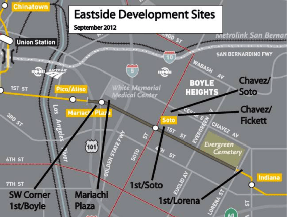 Proposed development sites/Metro-owned properties in Boyle Heights. Almost all are slated for affordable housing. Source: Metro