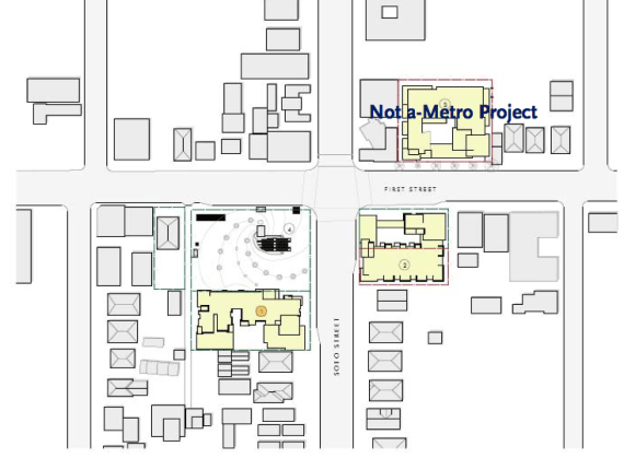 The two yellow sites south of 1st St. are slated for affordable and senior housing. Source: Metro