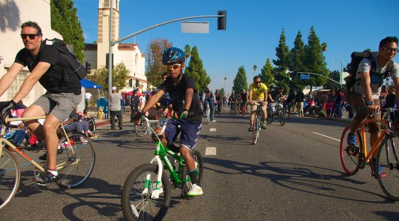 One of Jeremy Swift's sons rides confidently with the group. Sahra Sulaiman/Streetsblog L.A.