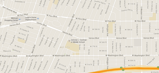 Google map of Venice Boulevard area referenced in this article