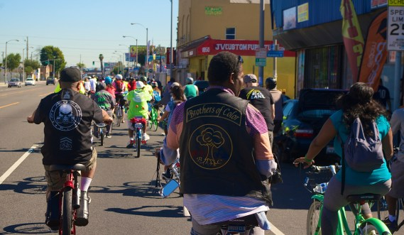 Riders wear vests showcasing their clubs. Sahra Sulaiman/Streetsblog L.A.