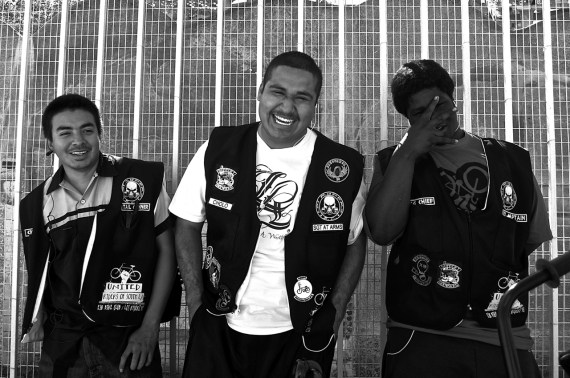 Cheech, William, and Shawn take a rest from road captain duties at the Watts Towers. Sahra Sulaiman/Streetsblog L.A.