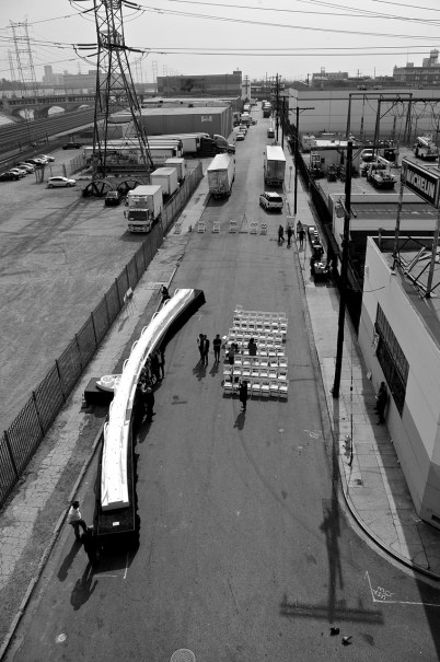 The bridge model on Mesquit St. as seen from the deck of the 6th St. Viaduct. Sahra Sulaiman/Streetsblog L.A.