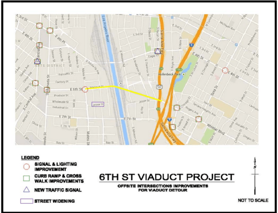 The intersections slated for improvements to help accommodate the increase in traffic they will see during the period the viaduct is closed. They now number 12 instead of 20. Source: Sixth Street Viaduct Replacement Project (Click to enlarge)