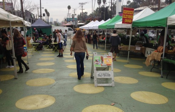 Eyes on the Street: the polka dots have returned to Sunset Triangle Plaza. See earlier People St plazas article for more information. Photo by Joe Linton/Streetsblog L.A.