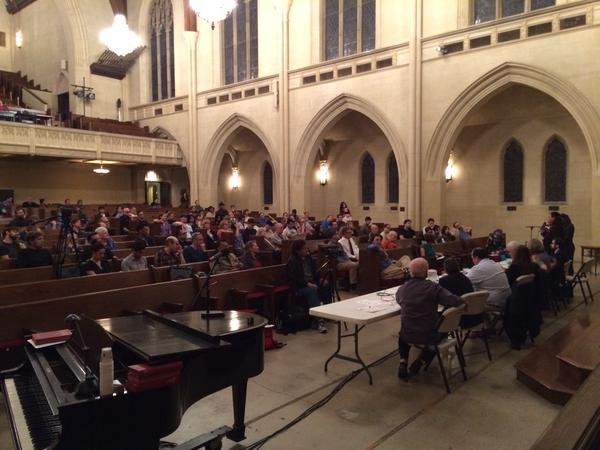 Over 150 people attended last night's forum. Eric Bruins with LACBC snapped a picture from behind the forum tables.