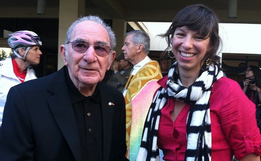 Alex Baum (left) with then-LACBC staff Alexis Lantz at the 2012 Blessing of the Bicycles. Photo via LADOT Bike Blog.