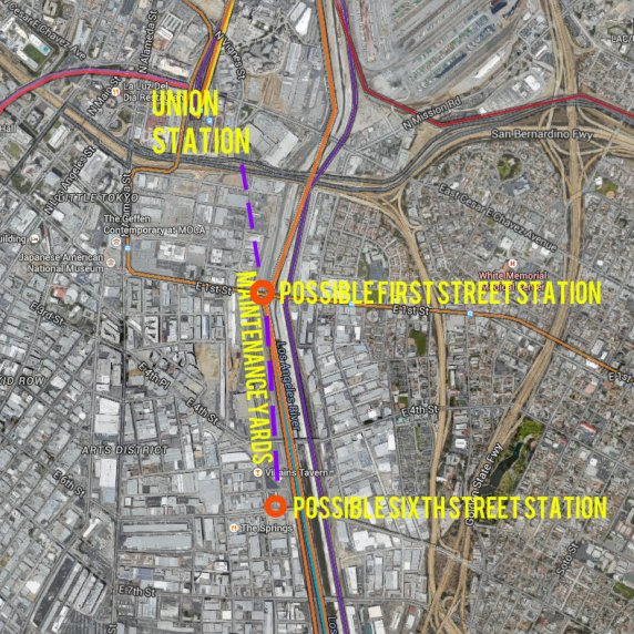 Metro is considering extending its Red/Purple Line subways southeast of Union Station into the downtown Los Angeles Arts District. Diagram Streetsblog L.A., with base map via Google