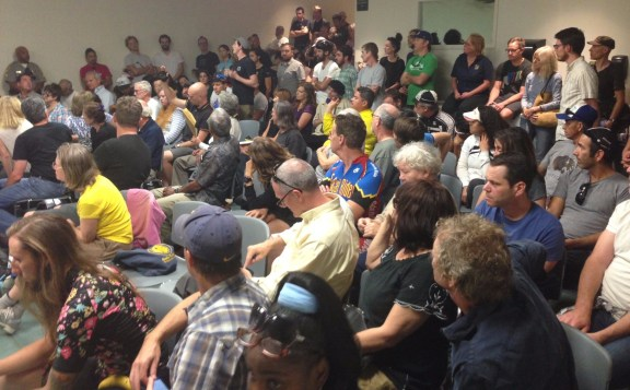 Standing room only crowd as park users rallied to opposed Griffith Park desecration of Mount Hollywood Drive. Photo: Joe Linton/Streetsblog L.A.