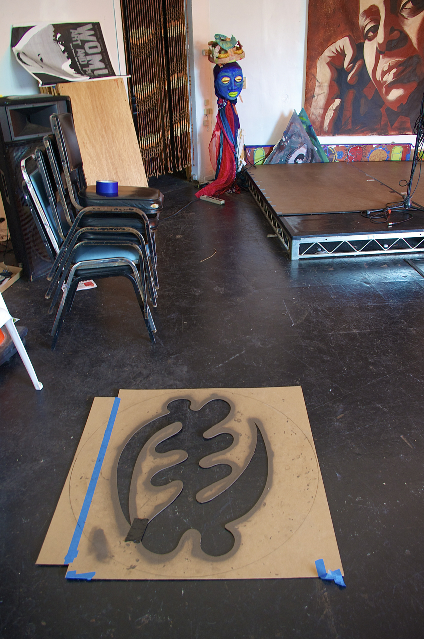 The stencil in the KAOS Network's performance space. Sahra Sulaiman/Streetsblog L.A.