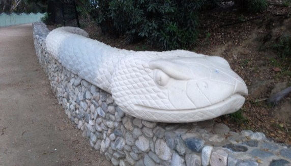 The rattlesnake wall at Studio City's Valleyheart Greenway along the L.A. River.