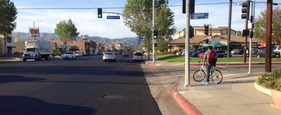 Reseda Boulevard yesterday, freshly repaved. Photo: Joe Linton/Streetsblog L.A.