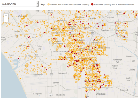 Picture of the foreclosure crisis in South L.A. Orange dots represent foreclosures; red dots represent complaints about the condition of the properties by neighbors. Source: L.A. Times