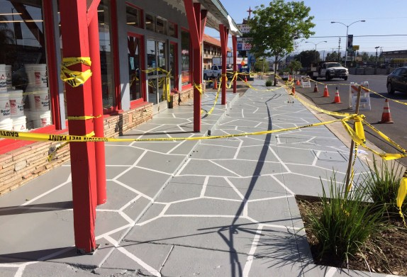New patterned sidewalks on Reseda Boulevard. Photo: LA-Más