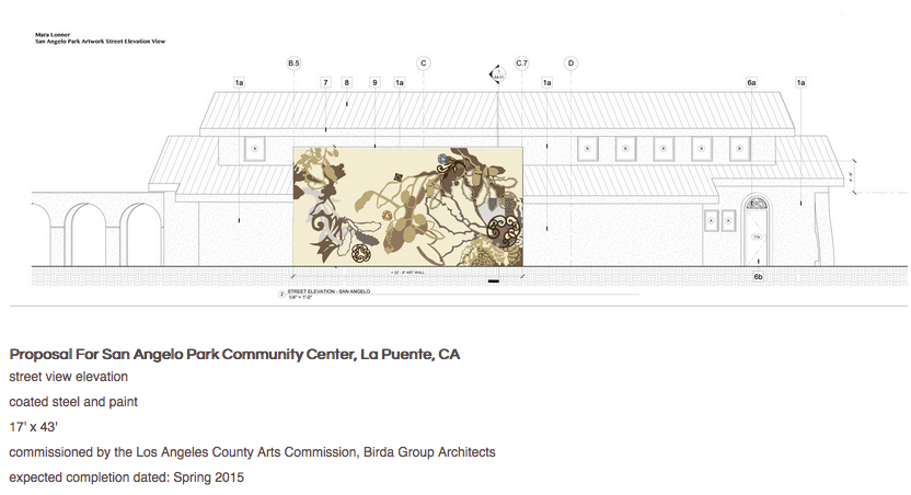 Proposal for San Angelo Park Community Center, La Puente, CA street view elevation coated steel and paint 17' x 43' commissioned by the Los Angeles County Arts Commission, Birda Group Architects expected completion dated: Spring 2015