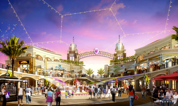 Screenshot of the rendering of the Vermont Entertainment Village interior plaza.