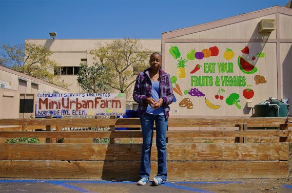 Neena, a former intern with CSU, stands in front of the garden boxes CSU set up at a school on Normandie Ave. Sahra Sulaiman/Streetsblog L.A.