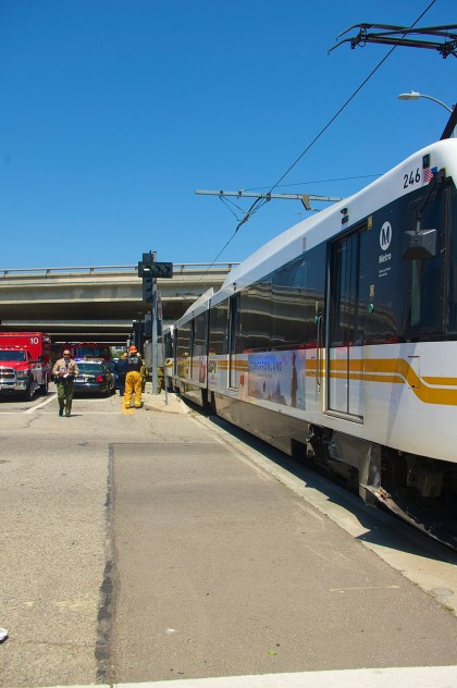 The train finally stopped well past the collision point. Sahra Sulaiman/Streetsblog L.A.