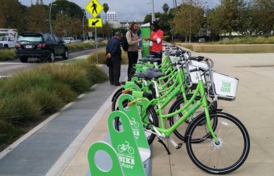 "The city of Santa Monica's bike-share system ""Breeze"" is expected to go live this fall."