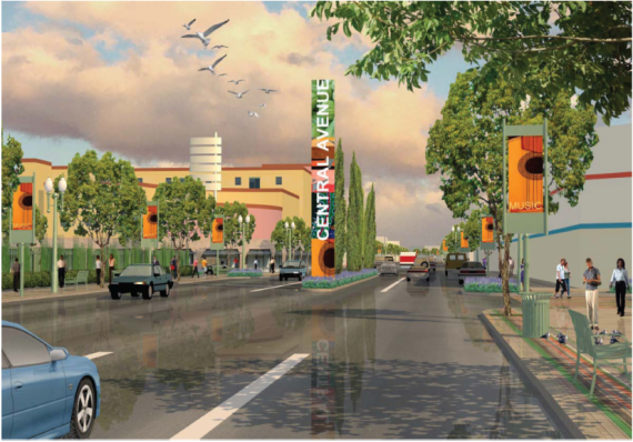 A rendering of what Central Ave. might have been, had the 2009 streetscape plans been implemented.