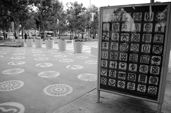 A guide to the Adinkra symbols found on the plaza. Sahra Sulaiman/Streetsblog L.A.
