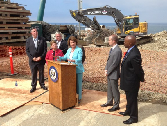 U.S. Representative Nancy Pelosi speaking on federal transportation funding at this morning's event. Photo: Joe Linton/Streetsblog L.A.