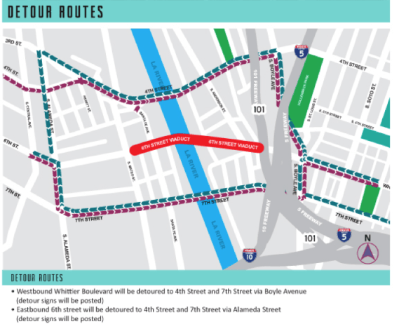 The anticipated detours around the 6th St. bridge. Source: 6th St. Viaduct Replacement project