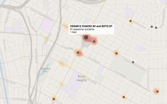 Screen shot of the LA Times' map of pedestrian collisions at Cesar Chavez and Soto. Source: LA Times.