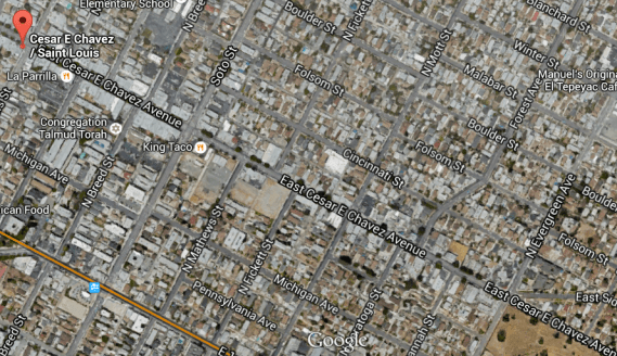 The stretch of Cesar Chavez slated for Great Streets' improvements. (Google maps screen shot)