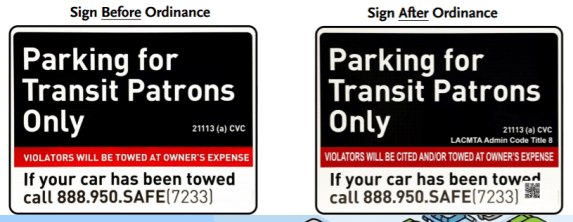 Subtle differences in Metro parking signage - violators can be cited - not just towed. Image via Metro [PDF]