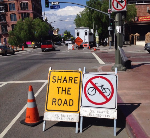 Is the city giving cyclists the wrong sign? Photo by Nathan Lucero
