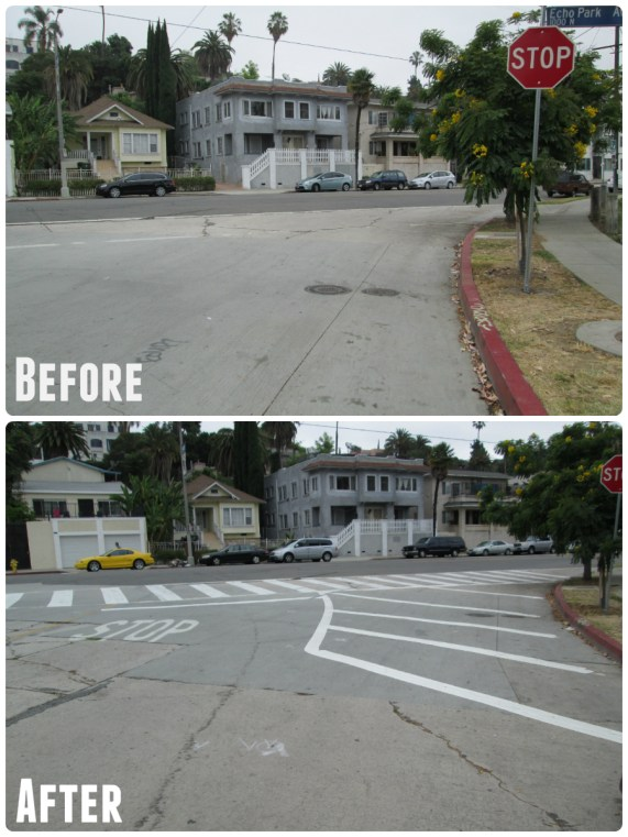 Echo Park sidewalk extensions before and after - photos by Ryan Price
